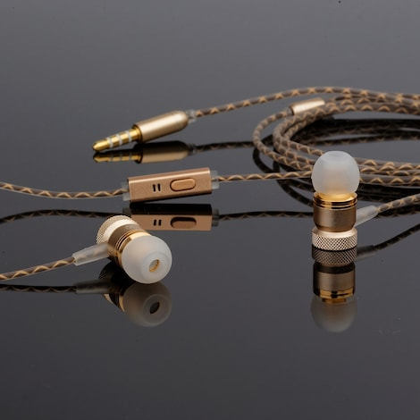 [REYTID] In-Ear Earphones Headphones - HD Sound, Heavy DEEP Bass w/ MIC for iPhone / Android - Gold Gold - product photo 1