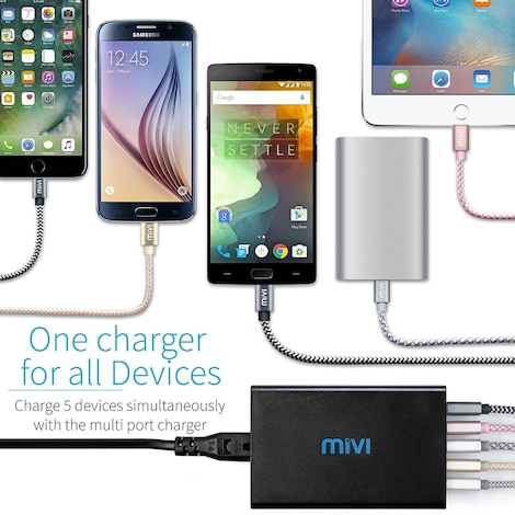 Mivi 5 port 8A Desktop USB Turbo Charging Station HUB  Black Plastic 4ft. - product photo 1