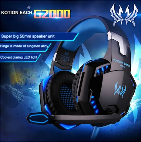 KOTION EACH 3.5mm Gaming Headset Blue 2ft. - product photo 8