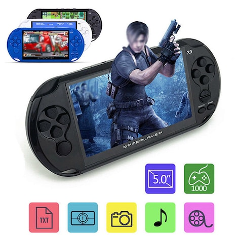 X9 5'' Handheld Video Game Console Retro Player Portable 32/64 Bit Games+ Cable Blue PC