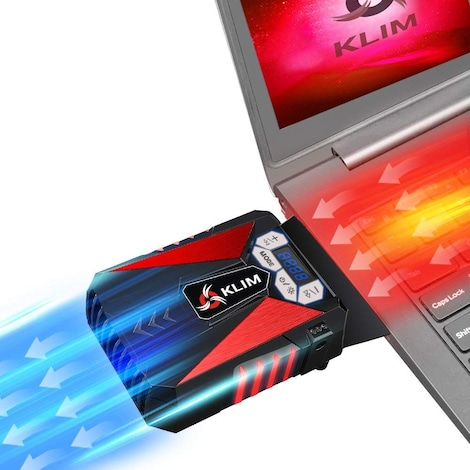 KLIM Cool Universal Gaming Laptop PC Cooler - USB Hot Air Extractor Red