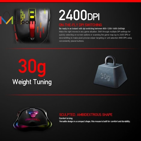Adjustable Gaming mouse computing to 2400DPI Black - product photo 1
