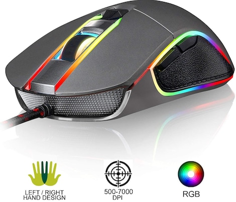 KLIM AIM Chroma RGB Gaming Mouse - Wired USB - Adjustable 500 to 7000 DPI - Programmable Buttons