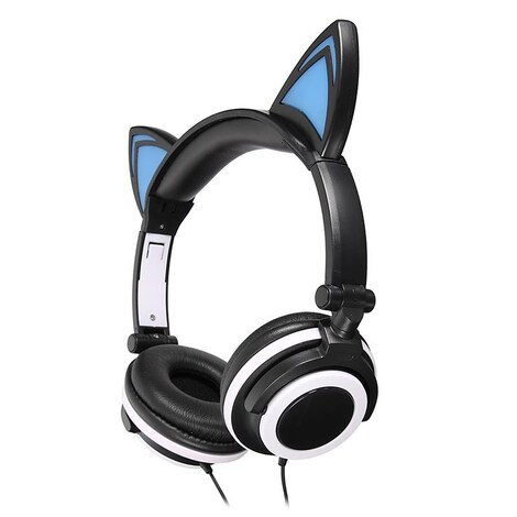 Wired Cat Ears Headphone - Gaming Headset With LED Light 3.5mm Earphones and Headphone For Children Universal Black