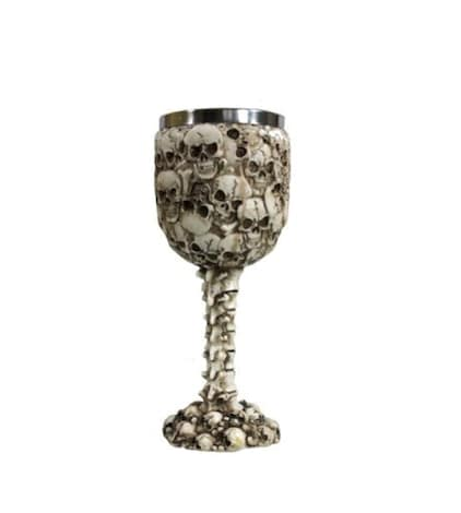 A cream goblet featuring gothic soul skull design