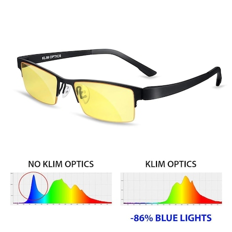 KLIM Optics Glasses to Block Blue Light NEW - High Protection for Screen - Gaming Glasses PC Mobile TV