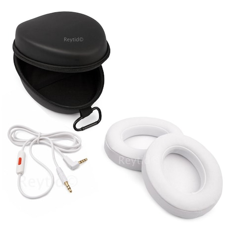 [REYTID] Beats by Dr. Dre Studio 2.0 & Studio 2.0 Wireless Cable, Carry Case & Ear Cushion Kit White White