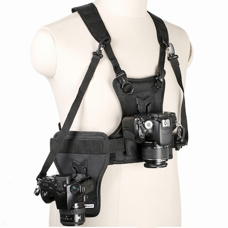 Multi Camera Carrier -  Harness Holster System Strap Holder Black Nylon