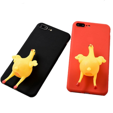 Funny 3D Squishy Chicken Phone Case Cover Black Silicone/Gel/Rubber
