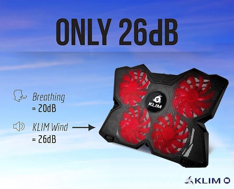 KLIM Wind Laptop Cooler Rapid Cooling Action - 4 Fans Ventilated Support Gamer Gaming Plate Support Red - product photo 1