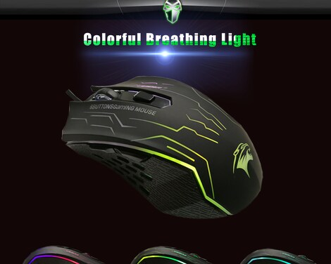 Silent Click USB Wired Gaming Mouse 6 Buttons 3200DPI Mute Optical Computer Game Mouse Mice for PC