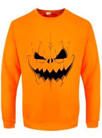 "Men's Pumpkin Skull Halloween Sweater Orange  - Large (Mens 40""- 42"")"