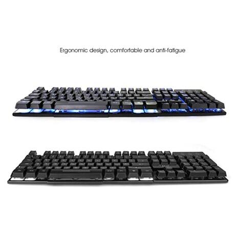 RK100 3 Color LED Backlit Mechanical Feeling Gaming Keyboard Black UK Layout (Red/Purple/Blue) - product photo 3