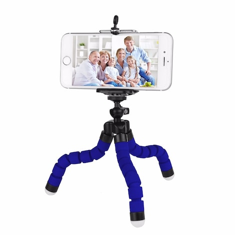 Mini Flexible Octopus Tripod for Smartphone Blue Plastic