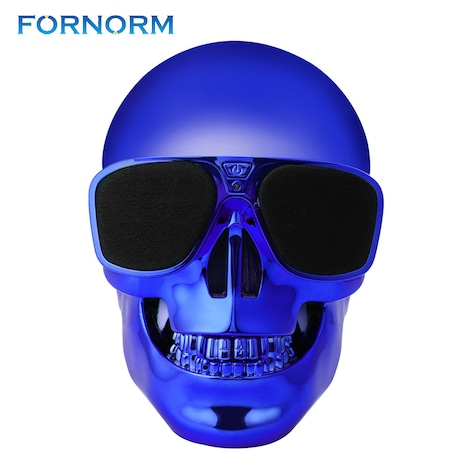 (Fornorm) Portable Skull Shape Bluetooth Speaker Blue