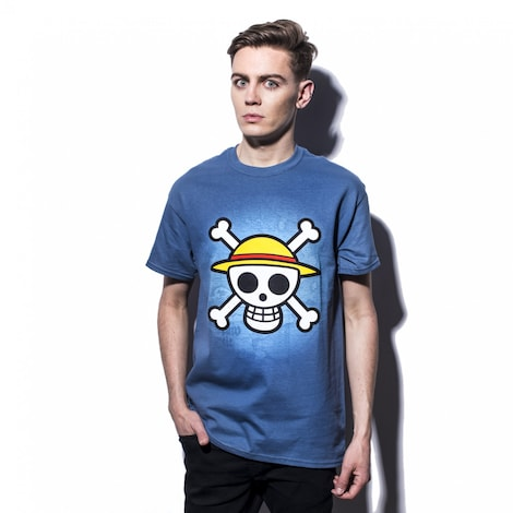 ONE PIECE: Skull with map Men's T-shirt XL Blue