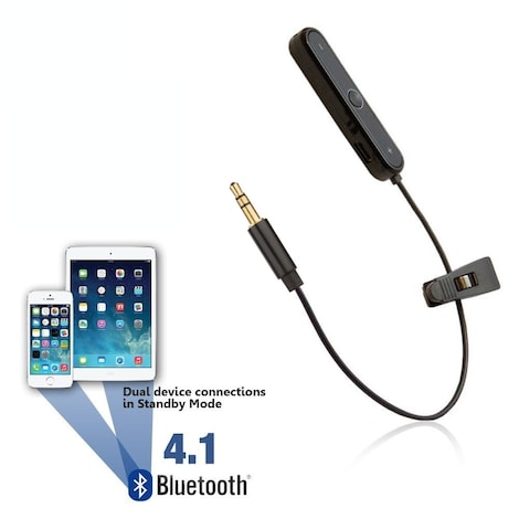 [REYTID] Bluetooth Adapter for Car Aux Port - Wireless Converter Receiver - Auxiliary Phone In-Car Black