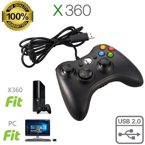 New USB Game Pad Controller For Microsoft Xbox 360 Console / PC Windows XBOX 360 Black