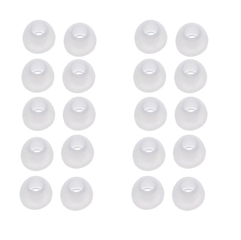Ear Buds - 10 Pairs Medium Size Silicone Replacements White - product photo 1
