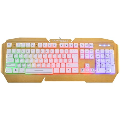 Standard Keyboard USB Wired  - Illuminated Colorful LED  White