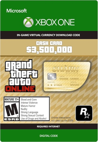Grand Theft Auto Online: The Whale Shark Cash Card XBOX LIVE GLOBAL 3 500 000 USD Key - box