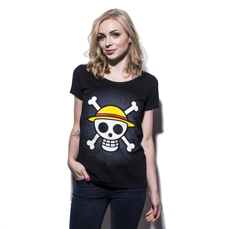 ONE PIECE: Skull with map Women's T-shirt M Black