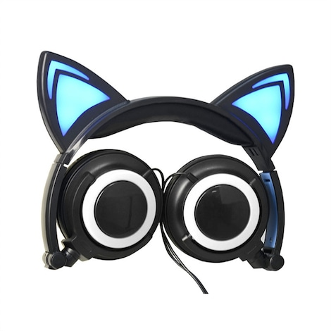 Lovely Cat Ear Foldable Headphones Black