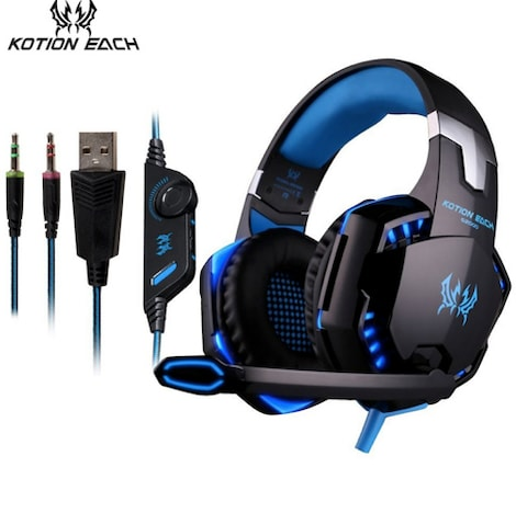 KOTION EACH 3.5mm Gaming Headset Blue 2ft.