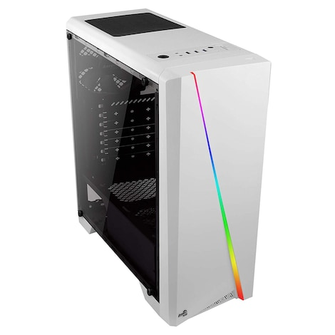 Aerocool CYLONW - PC Computer case (mid tower, ATX, acrylic lateral panel, LED RGB on frontal panel)