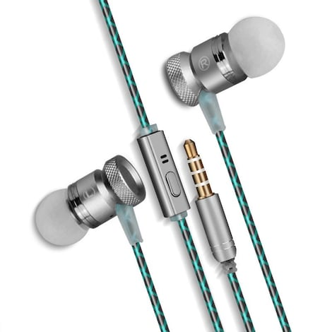 [REYTID] In-Ear Earphones Headphones - HD Sound, Heavy DEEP Bass w/ MIC for iPhone / Android - Grey Grey