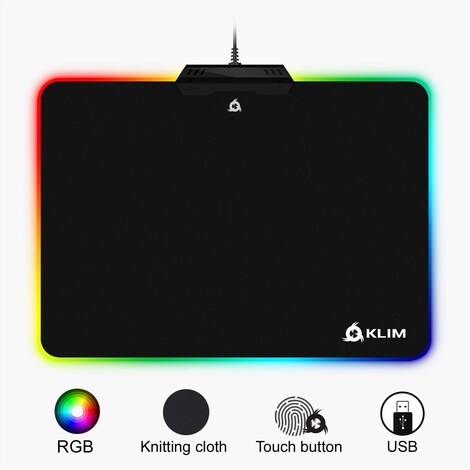 KLIM RGB Chroma Mousepad USB, 38.4 x 30.6 x 2.2 cm - Black with Lighting Effects [ New Version ] - product photo 4