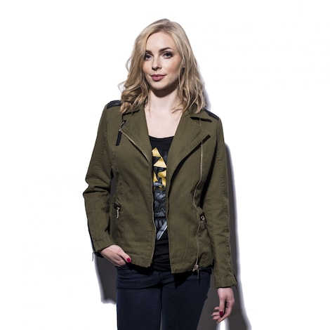 ZELDA: Triforce Logo Women's Biker Jacket S Olive