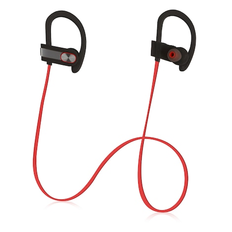 [REYTID] Wireless Sports Earphones w/ In-Line Microphone & Volume Control - HD Sound - Grey/Red Multi-Color - product photo 4