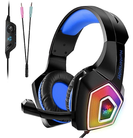 Gaming Headset, Tenswall PS4 Gaming Headset  with Mic LED OverEar Sound Noise Cancelling & Volume Control-Blue