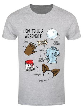 Men's How To Be A Werewolf Grey Halloween T-shirt  M Gray