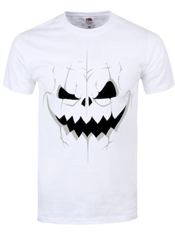 Men's Pumpkin Skull T-shirt White  L White