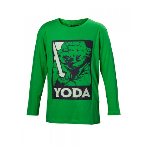 STAR WARS: Yoda With Lightsaber Kids' Longsleeve 158 - 164 cm Boy Green