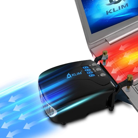 KLIM Tornado Laptop Cooler Fast Cooling - USB Heat Sink for Laptops + Powerful - Cooling Pad