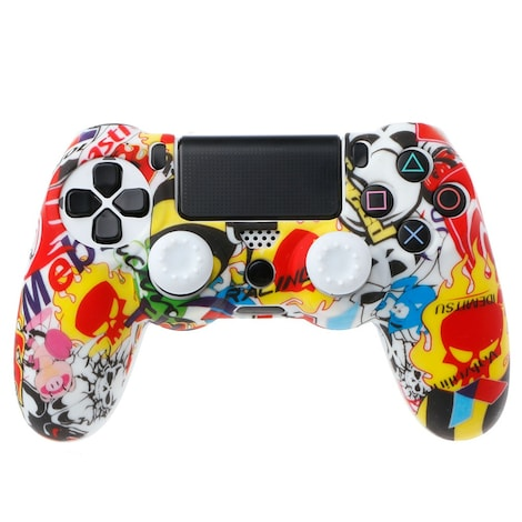 OCDAY Anti-Slip Multicolor Silicone Cover Skin Case + 2 Thumbsticks Grips  Remote Control
