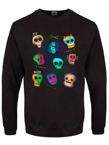 "Men's Spooky Skulls Halloween Black Sweater - Extra Large (Mens 42""- 44"")"