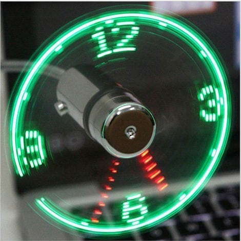 Hand Mini USB Fan portable gadgets Flexible Gooseneck LED Clock Cool For laptop PC Notebook real Time Displa