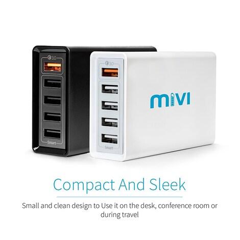 Mivi 5 port 8A Desktop USB Turbo Charging Station HUB  Black Plastic 4ft. - product photo 4