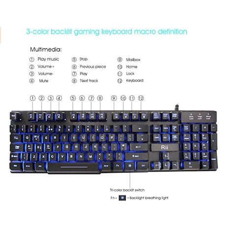 RK100 3 Color LED Backlit Mechanical Feeling Gaming Keyboard Black UK Layout (Red/Purple/Blue) - product photo 4