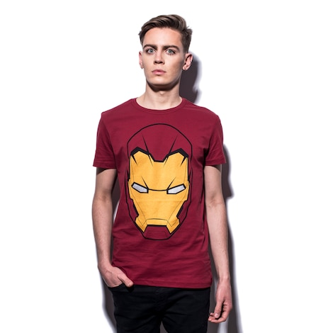 MARVEL: Civil War Iron Man Mask Men's T-shirt L Red