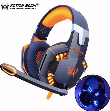 KOTION EACH Gaming Headset - Deep Bass Stereo Earphone with LED light & for PC Laptop PS4 Xbox