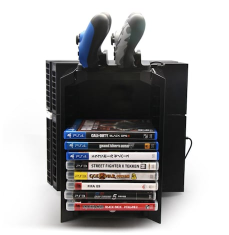 Multifunctional Gaming Movie Disks Storage Tower Dual Game Controller Stand Charging Dock Station For PS4