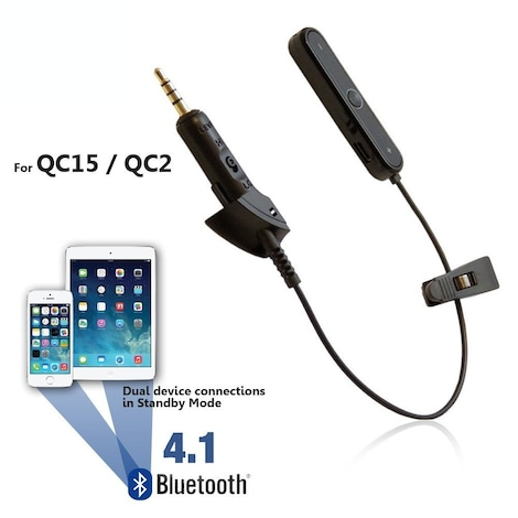 [REYTID] Bose QuietComfort 15 QC15 Wireless Bluetooth Converter Cable Lead - iPhone Android Black