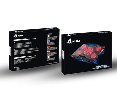 KLIM CYCLONE Laptop Cooler - Maximal Cooling - 5 Fans - Cooling Pad for Computer - Gamer Gaming - New Version Red - product photo 4