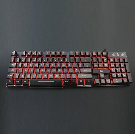 RK100 3 Color LED Backlit Mechanical Feeling Gaming Keyboard Black UK Layout (Red/Purple/Blue)