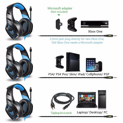 ONIKUMA K1S Game Headset Headphone for PS4 Xbox One Nintendo Switch PlayStation Light Blue - product photo 9